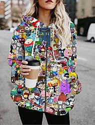 cheap -Women's Jackets Cartoon Characters Print Casual Fall Jacket Regular Daily Long Sleeve Air Layer Fabric Coat Tops Rainbow