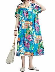 cheap -Women's Shift Dress Midi Dress Photo Color Half Sleeve Color Block Print Spring Summer Crew Neck Casual Loose 2021 One-Size / Cotton