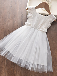 cheap -Kids Little Girls' Dress Solid Colored White Dresses