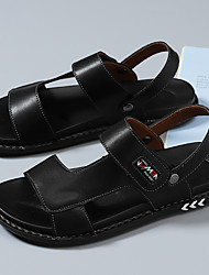 cheap -Men's Sandals Beach Daily Nappa Leather Breathable Non-slipping Wear Proof Black Dark Blue Summer