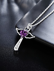 cheap -Lucky Doll Women's Pendant Necklace Charm Necklace Geometrical Zircon Silver Plated Cross Precious Fashion Lovely Wedding for Christmas Wedding Halloween Daily Work Geometric