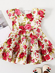 cheap -Kids Little Girls' Dress Rose Floral Birthday Party Print White Midi Short Sleeve Regular Basic Sweet Dresses Children's Day Summer Slim 1-5 Years