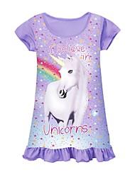 cheap -Kid's Little Girls' Dress Unicorn Purple Rose Red Short Sleeve Cartoon Dresses Summer 3-10 Years