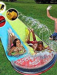 cheap -Water Slip Water Slide for Kid Adults 15FT Racing Lanes and Splash Pool,Outdoor Water Toys Colorful Slip Slide Play with Plash Sprinkler Garden Backyard Giant Racing Water Slide with Spray (Blue)