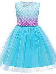 cheap -Kids Little Girls' Dress Solid Colored Lace Trims Print Light Blue Knee-length Sleeveless Active Dresses Summer Regular Fit 5-12 Years