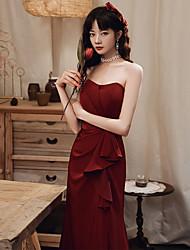 economico -abito da sposa brindisi a coda di pesce sposa 2021 abito da sera da sposa rosso vino nuovo di solito può indossare un top a tubo atmosferico per mostrare donne magre