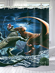 cheap -Lizard War Digital Printing Shower Curtain Shower Curtains Hooks Modern Polyester New Design 72 Inch