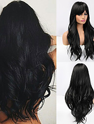 cheap -Long Black Wigs Cosplay Body Wave Synthetic Wigs with Full Bangs For White/Black Women Brazilian American Natural Hair