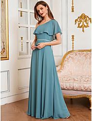 cheap -A-Line One Shoulder Floor Length Chiffon Bridesmaid Dress with Ruffles