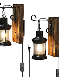 cheap -LED Wall Light Vintage Style Single Head Industrial Vintage Retro Wooden Metal Painting Color Wall lamp Sconces Lighting Fixture With 6FT Plug In Cord And On/Off Switch EU/US Plug AC85-265V