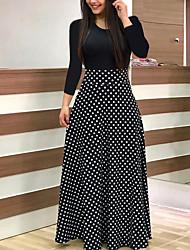 cheap -Women's A Line Dress Maxi long Dress Black And White Color bar Dots Leaf flower Blushing Pink Green Red Long Sleeve Flower Summer Casual 2021 S M L XL XXL XXXL 4XL 5XL / Cotton / Cotton