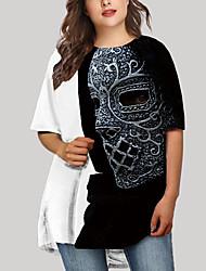 cheap -Women's Plus Size Graphic Mask Print Basic Half Sleeve Spring & Summer Short Mini Dress T Shirt Dress Tee Dress Gold Silver