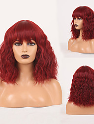cheap -Cosplay Costume Wig Synthetic Wig Wavy Loose Curl Neat Bang Wig 14 inch Burgundy Synthetic Hair Women's Odor Free Fashionable Design Soft Burgundy