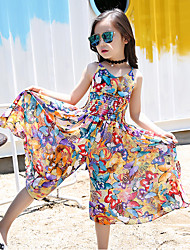 cheap -Kids Girls' Clothing Set Floral Sleeveless Print Vacation Yellow Active