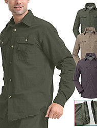 cheap -Men's Hiking Shirt / Button Down Shirts Military Tactical Shirt Long Sleeve Shirt Top Outdoor UV Sun Protection Removable Quick Dry Breathable Autumn / Fall Spring Summer Back Venting Design Convert