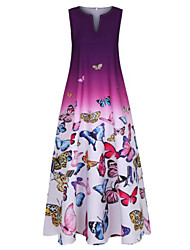 cheap -Women's Plus Size A Line Dress Maxi long Dress Blue Purple Sleeveless Butterfly Color Gradient Print Summer V Neck Hot Casual 2021 XL XXL 3XL 4XL 5XL