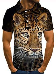 cheap -Men's Polo 3D Print Tiger Animal Button-Down Short Sleeve Street Tops Casual Fashion Cool Black