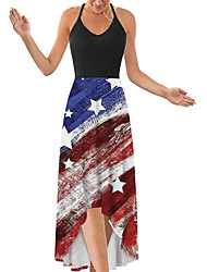 cheap -2021 independence day ebay hot style high waist mid-length digital print cross-back halterneck dress