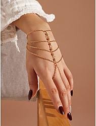 cheap -Women's Ring Bracelet / Slave bracelet Bracelet Layered Princess Fashion European Rhinestone Bracelet Jewelry Gold For Gift Prom Date Birthday