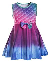 cheap -Kids Little Girls' Dress Mermaid Tail Graphic Print Fuchsia Knee-length Sleeveless Active Dresses Summer Regular Fit 5-12 Years