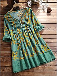 cheap -Women's Shirt Dress Short Mini Dress Long Sleeve Floral Ruched Ruffle Patchwork Spring Summer V Neck Casual 2021 L XL XXL 3XL 4XL 5XL / Cotton / Cotton / Print