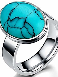 cheap -jude jewelers stainless steel oval shape turquoise wedding cocktail party statement ring (silver blue, 12)