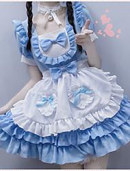 preiswerte -Lolita nette Art Kleid Damen Japanisch Cosplay Kostüme Leicht Blau Volltonfarbe / Schürze