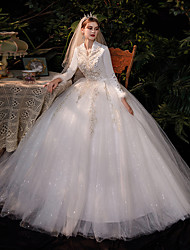 cheap -Princess Ball Gown Wedding Dresses V Neck Floor Length Lace Tulle Long Sleeve Romantic Sparkle & Shine with Appliques 2021