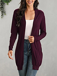cheap -Women's Stylish Pocket Knitted Solid Color Cardigan Cotton Long Sleeve Sweater Cardigans V Neck Fall Spring Black Wine Navy Blue