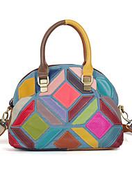 cheap -cross-border new leather women's bag, casual denim color cowhide color handmade contrast color one-shoulder handbag