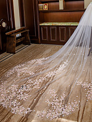 cheap -Two-tier Floral Wedding Veil Cathedral Veils with Appliques Lace / Tulle / Mantilla