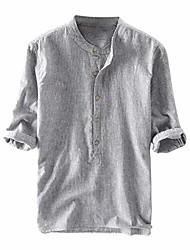 cheap -men henley neck casual summer plain shirt 3/4 button down comfy linen half sleeve retro soft shirts gray