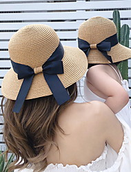 cheap -Mommy and Me Holiday Beach Bow Decor Straw Hats
