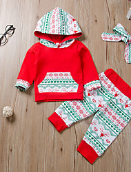cheap -Baby Girls' Basic Print Long Sleeve Regular Clothing Set Red