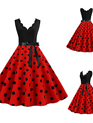 cheap -Audrey Hepburn Polka Dots 1950s Vintage Vacation Dress Dress Rockabilly Prom Dress Women's Costume Red / Blushing Pink / Blue Vintage Cosplay Homecoming Prom Sleeveless Knee Length