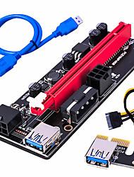 cheap -PCI-E pcie Riser 009 Express 1X to 16x Extender PCI E USB Riser 009S Dual 6Pin Adapter Card SATA 15pin