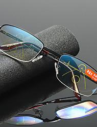 cheap -Progressive Multi-focus Reading Glasses Men and Women Folding Carrying Case Glasses Anti-Blue Light Metal Half Frame Reading Glasses Reading Glasses Men And Women