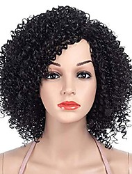 cheap -sexyy afro kinky curly wigs 14-inch african small roll black side short wigs for women natural spiral curls african american quality hair