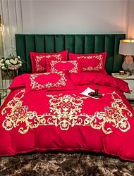 cheap -Duvet Cover Sets 4 Piece  Bohemian style European fashionable flat sheet Pillowcase Red  Wedding  Bedding flower