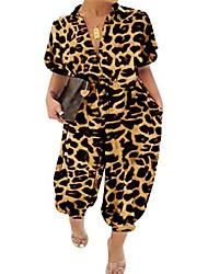 cheap -Women's Plus Size Romper Leopard Print Short Sleeve Spring Summer Black Leopard Purple Leopard Black L XL XXL XXXL 4XL / Holiday / Shirt Collar
