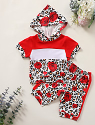 cheap -Baby Girls' Basic Leopard Short Sleeve Regular Clothing Set Red