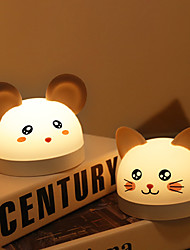 cheap -Night Light Flip Series Gu Lu Mouse Naughty Cat with Time Alarm Clock Night Light Bedroom Baby Infant Breastfeeding Eye Protection Sleep Lamp Charging Children Cute Bedside Lamp