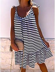 cheap -Women's Strap Dress Knee Length Dress Royal Blue Beige Sleeveless Striped Patchwork Summer V Neck Casual Holiday Loose 2021 S M L XL XXL