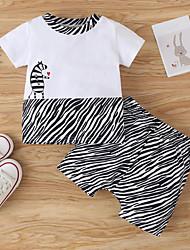 cheap -Baby Boys' Basic Casual Print Short Sleeve Short Clothing Set White