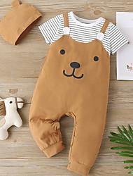 cheap -Baby Boys' Basic Striped Animal Print Short Sleeves Romper Black Brown Gray