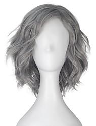 cheap -halloweencostumes Unisex Short Wavy Volume Wavy Silver Gray Synthetic Cosplay Costume Wig Shoulder Long Halloween Hair