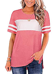 cheap -basicspace pure color chic charming stitching outdoor workout tee blouse casual o-neck plus size tops for women(xx-large,b-pink)