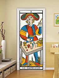 "cheap -2pcs Self-adhesive Creative Cartoon Poker Door Stickers Living Room Diy Decorative Home Waterproof Wall Stickers 30.3""x78.7""(77x200cm), 2 PCS Set"