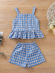 cheap -Baby Girls' Active Blue Plaid Sequins Sleeveless Regular Regular Clothing Set Blue