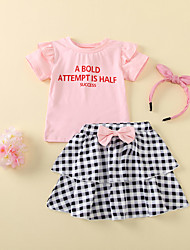 cheap -Baby Girls' Basic Check Bow Short Sleeve Regular Clothing Set Blushing Pink